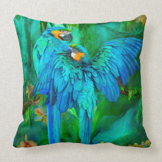 Tropic Spirits - Gold and Blue Macaw Art Pillow Cushion