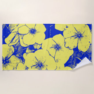 Tropical Abstract Flowers Beach Towel
