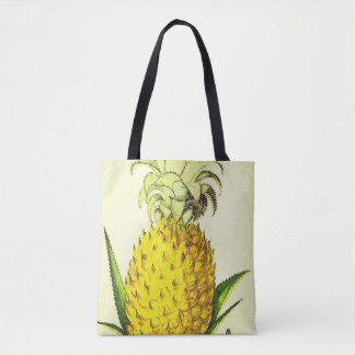 Tropical Accent Vintage Botanical Queen Pineapple Tote Bag