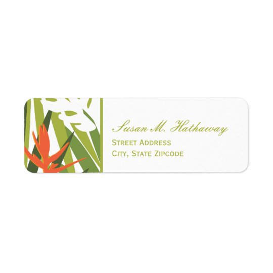 Tropical Address Label - Green and Orange