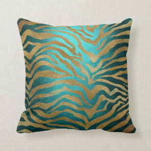 Tropical African Teal Gold Glam Zebra Animal Skin Cushion