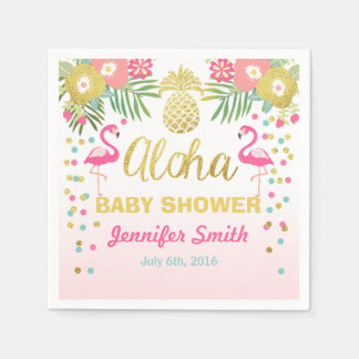 Tropical Aloha Flamingo Baby Shower Paper Napkin