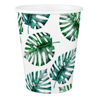Tropical Aloha Monstera Leaves Pattern Paper Cup