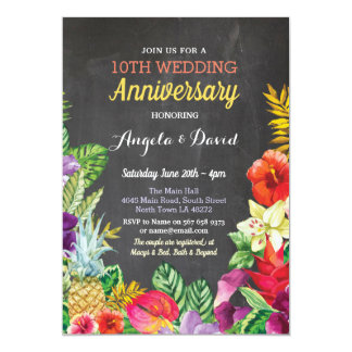 Tropical Aloha Wedding Anniversary Chalk Invite