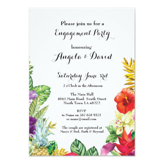 Tropical Aloha Wedding Floral Engagement Invite