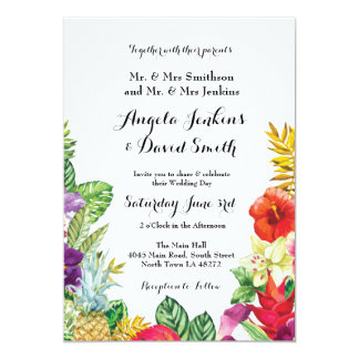 Tropical Aloha Wedding Floral Luau Lights Invite