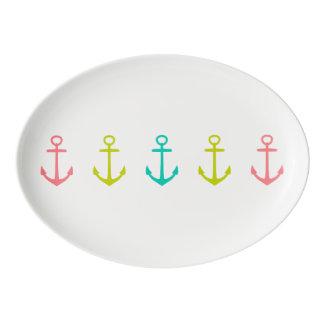 Tropical Anchors on White Porcelain Serving Platter