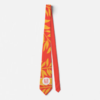 Tropical and Bold with Monogram Coral and Yellow Tie