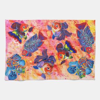 Tropical and goldfish design tea towel