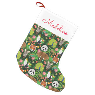 Tropical Animal Mix | Add Your Name Small Christmas Stocking