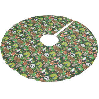 Tropical Animal Mix Brushed Polyester Tree Skirt