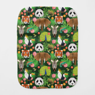 Tropical Animal Mix Burp Cloth