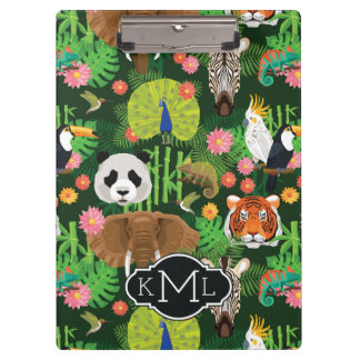 Tropical Animal Mix | Monogram Clipboard