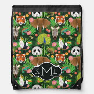 Tropical Animal Mix | Monogram Drawstring Bag