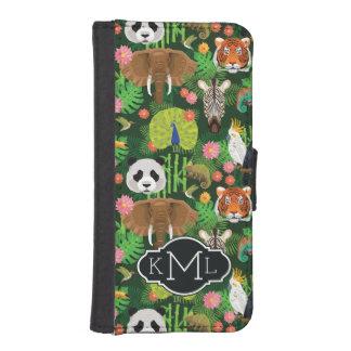 Tropical Animal Mix   Monogram iPhone SE/5/5s Wallet Case