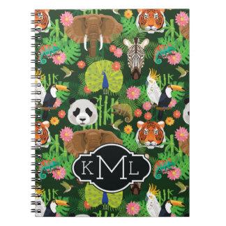 Tropical Animal Mix | Monogram Spiral Notebook