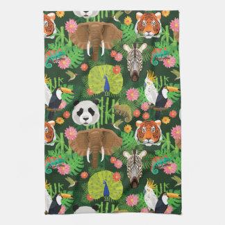 Tropical Animal Mix Tea Towel