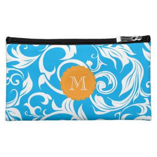 Tropical Aqua Blue Orange Floral Scroll Monogram Makeup Bag