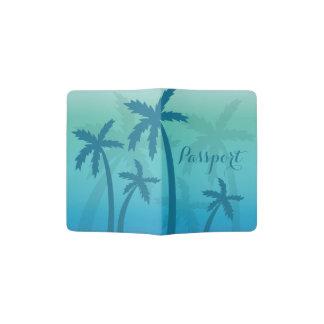 Tropical Aqua Blue Palm Trees Passport Holder