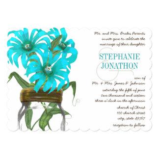 Tropical Aqua Mason Jar Exotic Flower Wedding 13 Cm X 18 Cm Invitation Card