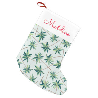 Tropical Australian Foxtail Palm | Add Your Name Small Christmas Stocking