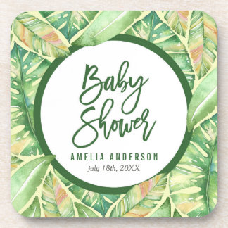 Tropical Baby Shower Green Watercolor Leaves Coaster
