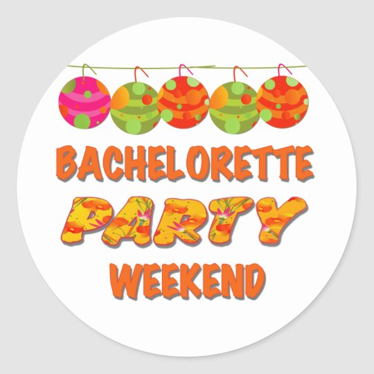 Tropical Bachelorette Party Weekend Round Sticker