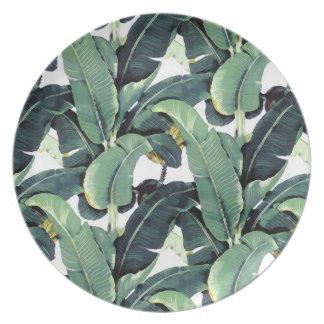 Tropical Banana Leaf Palm Tree Melamine Plate