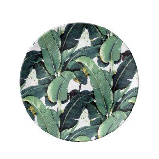 Tropical Banana Leaf Palm Tree Porcelain Plate
