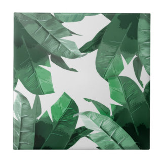 Tropical Banana Leaf Print Ceramic Photo Tile
