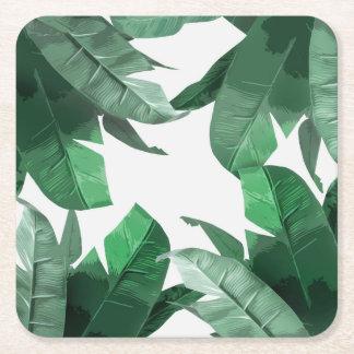 Tropical Banana Leaf Print Square Coasters