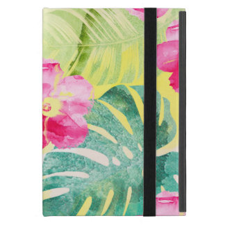 Tropical Banana Leaves and Hibiscus Flowers iPad Mini Cover