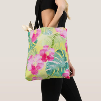 Tropical Banana Leaves and Hibiscus Flowers Tote Bag