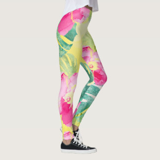 Tropical Banana Leaves and Lovely Hibiscus Flowers Leggings