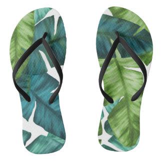 Tropical Banana Leaves Unique Pattern Flip Flops