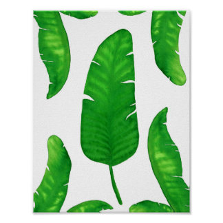Tropical Banana Palm Leaves print A4 Watercolor