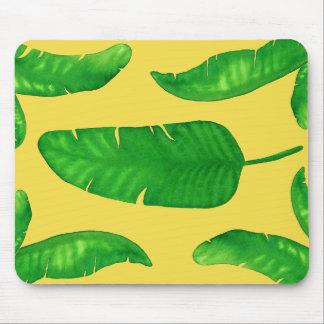 Tropical Banana Palm Leaves Yellow Mousepad