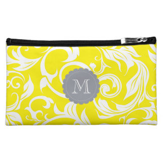 Tropical Banana Yellow Floral Scroll Gray Monogram Makeup Bag