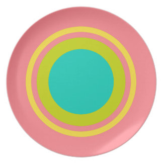 Tropical Banana Yellow Ring on Coral Pink Plate