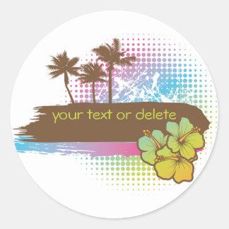 Tropical banner round sticker