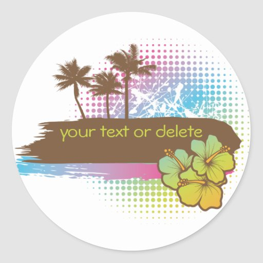 Tropical banner round stickers