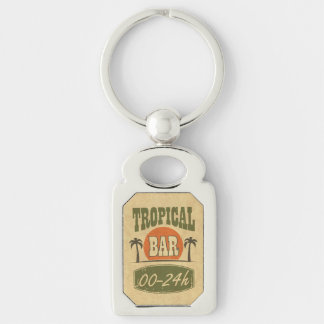 Tropical Bar Silver-Colored Rectangle Key Ring