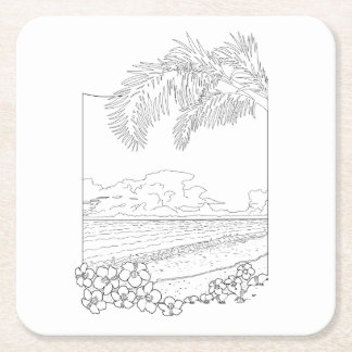Tropical Beach Adult Coloring Paper Coaster