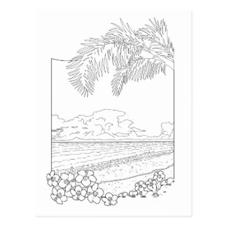 Tropical Beach Adult Coloring Postcard