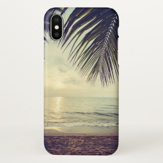 Tropical Beach and Palm Leaves iPhone X Case