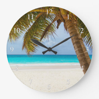 Tropical Beach And Palm Tree Small Numbers Large Clock