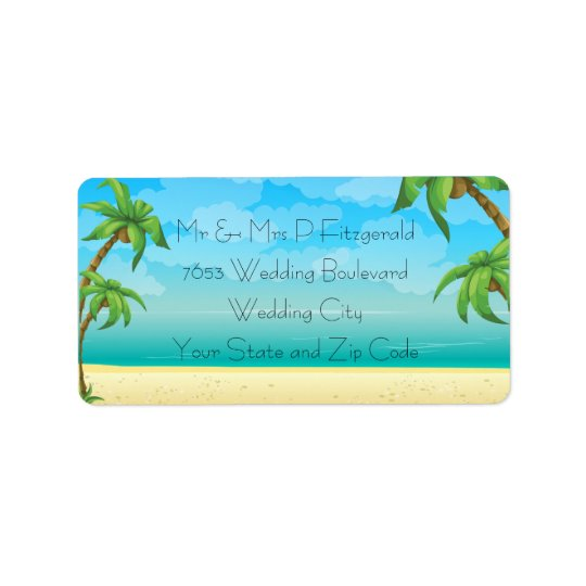 Tropical Beach and Palm Trees Wedding Label