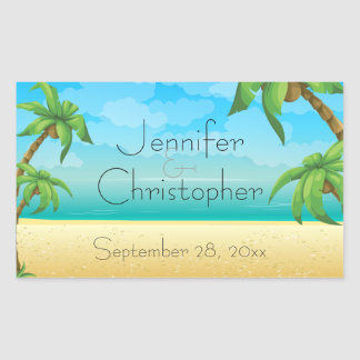 Tropical Beach and Palm Trees Wedding Rectangular Sticker