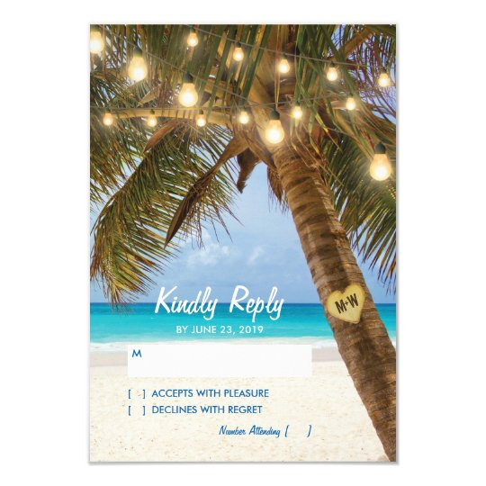 Tropical Beach and String Lights Wedding RSVP Card