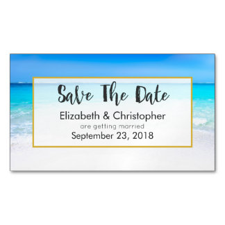 Tropical Beach and Turquoise Sea Save The Date Magnetic Business Card
